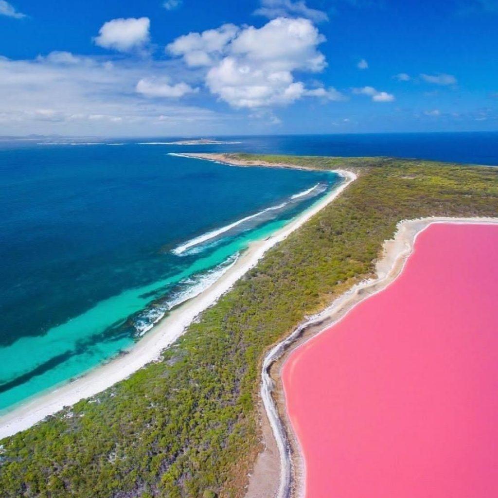 Lago Hillier  lago rosa da Austrália lary di lua